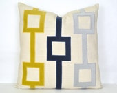 Navy, Gold and Gray Velvet and Linen Pillow