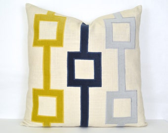 Navy, Gold and Gray Velvet and Linen Pillow Cover