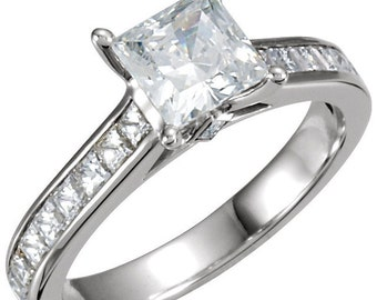 Princess Cut Cathedral Engagement Ring 2.15 CTW Channel Accented Design Wedding in Solid 14K White Gold