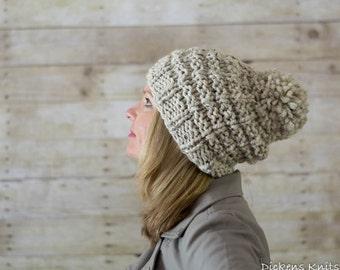 Soft Wool Chunky Knit Hat, Knit Slouchy Hat, Knit Pom Pom Hat, Oatmeal - Ready to Ship