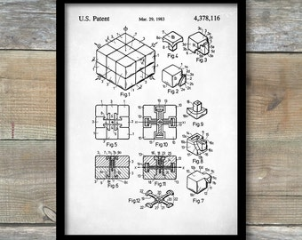 Patent Prints, Rubik's Cube Poster, Rubik's Cube Patent, Rubik's Cube Print, Rubik's Cube Art, Rubik's Cube Wall Art P108
