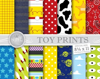 """TOY STORY Inspired Digital Paper Pattern Prints, Instant Download, 8 1/2"""" x 11"""" Paper Pack Patterns Scrapbook Print"""