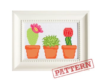 Cactus and Succulent Cross Stitch Pattern