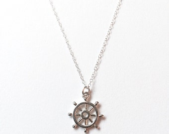 Sterling Silver Ships Wheel Necklace