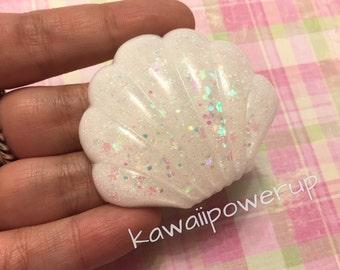 Kawaii Sea Shell Hair Clip (holographic glitter/white) ready to ship