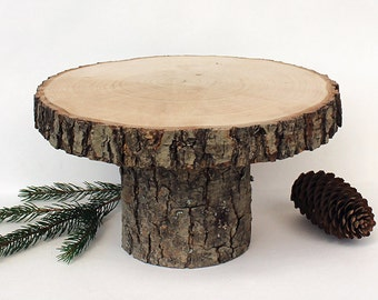 """Rustic 10"""" Wood Stand. Rustic Cake Stands. Rustic Centerpiece. Natural Cake Stand. Rustic Wood Cake Stand"""