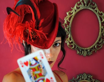 Steampunk Queen of Hearts Hat,Alice in Wonderland Costume Hat,Tea-Party Hat-Custom-Made to Order