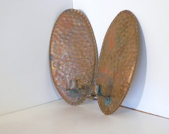 Two Copper Candle Wall Sconces