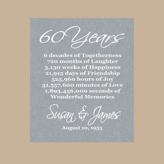 Gifts For 60th Wedding Anniversary: 60th Anniversary Gift Diamond Anniversary Personalized