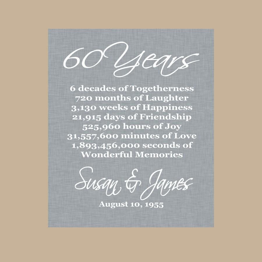 60 Years Wedding Anniversary Gifts: 60th Anniversary Gift Diamond Anniversary Personalized