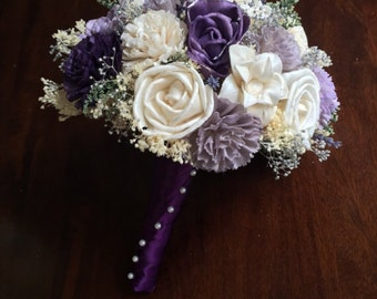 Purple and Silver Sola Flower Bouquet, Custom Sola Flower Wedding Bouquets, Sola Wedding Package, Alternative Wedding Bouquet