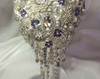 Purple Cascading Brooch Bouquet - Emma - Wedding Bouquet - Bridal Bouquet - Deposit - Full Price 425.00