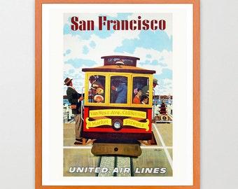 San Francisco Classic Wall Art - San Fran - San Francisco Poster - Trolly Car - Bay Area  Rail Car Art - Trolly Car  - Old California Art