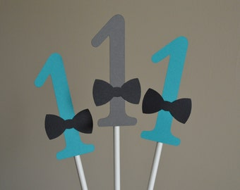 Mustache Centerpiece - Mustache Party Centerpiece -1st Birthday- Number Centerpiece - Mustache Bash - Teal Blue Gray - Set of 6