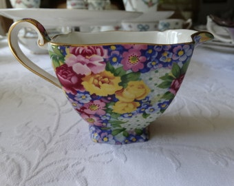 "CODE: MOVINGSALE 35% OFF Royal Winton ""Julia"" Cream Pitcher in  Beautiful Floral Chintz. Made in England."