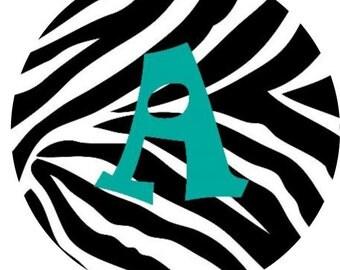 Zebra Monogram Edible Image Cupcake Topper