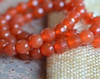 Carnelian Beads, 5mm Faceted Carnelian, Gemstone Beads, Round Carnelian Beads, Carnelian Stone, Faceted Beads Gemstone, One Strand, MAN14007