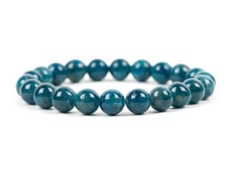 Blue Apatite Bracelet, Natural Dark Blue Gemstone Bracelet, 8 mm Beads