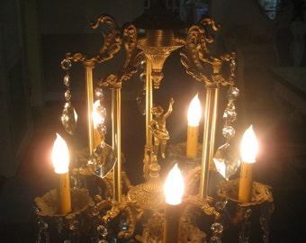 ANTIQUE BRONZE DANCING girl figural chandelier...
