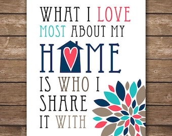 INSTANT DOWNLOAD - What I Love Most About My Home Is Who I Share It With - Home Décor - Housewarming Gift - DIGITAL 8x10
