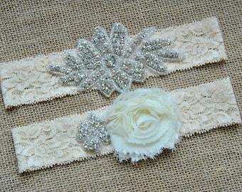 Crystal Garter Set, Wedding Garter Set Ivory Shabby Chic Flower Bridal Garter Set Vintage Wedding Lace Crystal Rhinestone Toss Garter Set