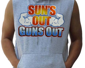 New Men's Sun's Out Guns Out Muscle Hoodie Vest Bodybulding All size S-3XL  Gray
