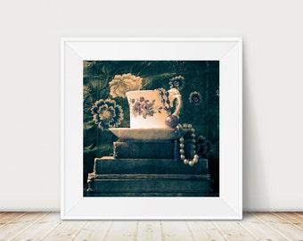 Still life  photograph, original photographic print, vintage tea cup photograph, old books print , home decor, romantic art - vintage blue