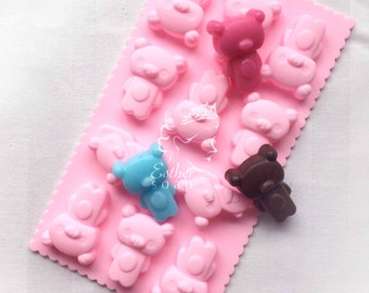 E006- Buy 2 get 1 FREE! 11-cavities cute lovely bears silicone mold mould chocolate cake soap molds embeds
