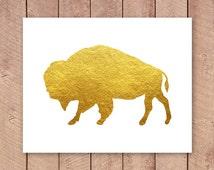 Shiny Gold Buffalo Printable Art Print, 4x6, 5x7, 8x10, 11x14 Gold Bison Print, Buffalo Poster, Instant Download, Paper Canoe