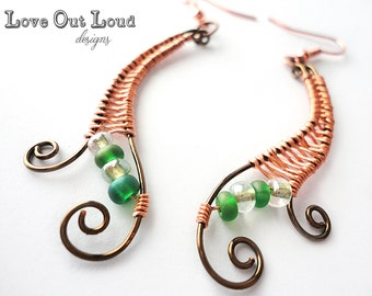 Woven Flourish Earrings with copper & bronze wire, green and white glass beads