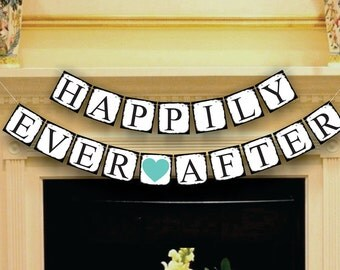 Happily Ever After Banner - Wedding Banner - Wedding Sign - Wedding Garland - Wedding Decoration Photo Props - Photo Booth Props