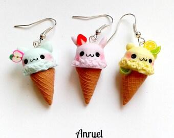 Ice Cream earrings-fruits ice cream puppies cat rabbit teddy bear Summer summer Kawaii earrings Handmade Fimo Funny