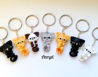 Cute kawaii kitty cat Keyring Keychain-cat funny customizable handmade fimo