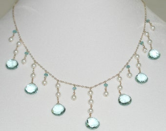 Aquamarine & Pearl Necklace - item #1210