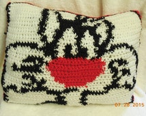 Crochet Decorative Pillow Featuring Cat Inspired By  Looney Tunes Sylvester
