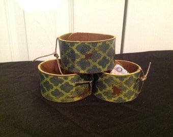 Leather Hand Painted Cuff Bracelet
