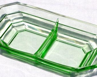 1920's Art Deco Uranium Glass Divided Dish