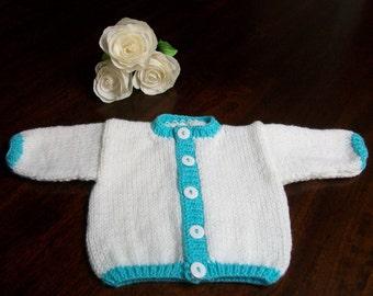 White Baby Cardigan, White Baby Sweater, Baptism Baby Clothes, White Newborn Cardigan, White Baby Sweater, Knitted Newborn Sweater