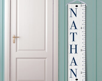 """Personalized """"Classic Ruler in White and Navy"""" Growth Chart"""