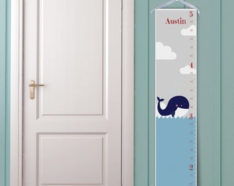 """Personalized Growth Chart """"Happy Whale"""""""