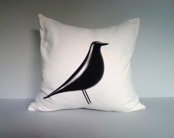 Eames House Bird Screen Printed Throw Pillow in White