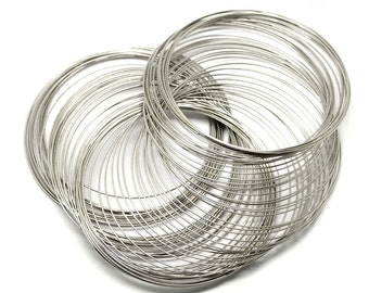 20 Loops Silver Tone Memory Beading Wire 70mm 22 Gauge (No.221)