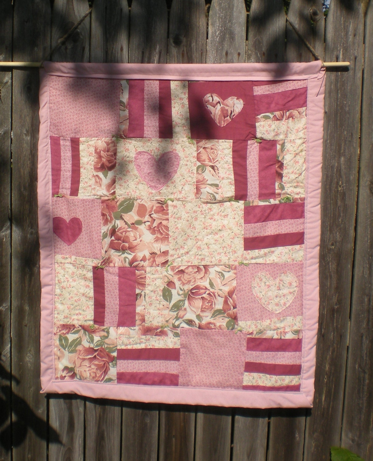 Quilting Room Wall Decor : Pink hearts folk art crib quilt nursery decor wall hanging