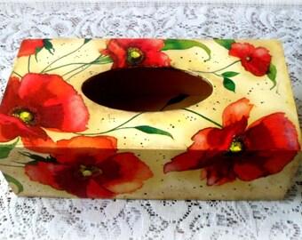 Wooden decoupage tissue box , poppies tissue box , red flowers tissue box