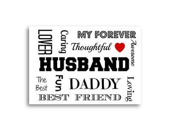 Unique Wife Card / Husband Birthday card - Personalised Husband Card - Personalized Husband Card - Typography Card