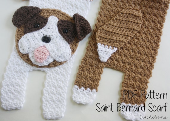 Crochet PATTERN Saint Bernard Scarf / Dog Breed Scarf Puppy