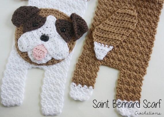 Knitting Patterns Dog Breeds : Saint Bernard Scarf Dog Breed Scarf Saint Scarf Crochet