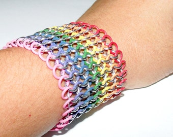 Tutorial for Rainbow Stretch European 4-1 Chainmail Bracelet - Using 18 SWG 3/6' Rings