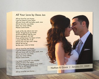 Personalized Anniversary Gift Song Lyric Canvas Custom Wedding Song Lyrics Vows First Dance Lyrics & Photo Unique Wedding Gift For Men Wife