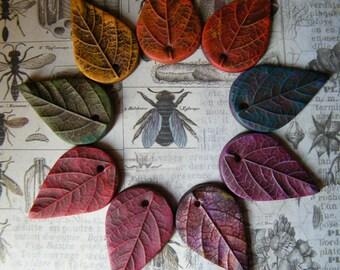 NEW! Rustic Fall Leaf Pendant, ONE Pendant, Leaf Pendants, Fall Leaf Pendants, Fall Pendants, Polymer Clay Leaf Pendant, Fall Beads